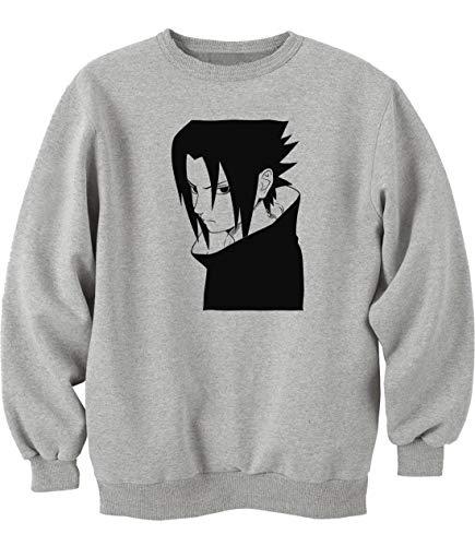Nothingtowear Unisex Sasuke Uchiha Stencil Art Sweatshirt Jumper Grau M