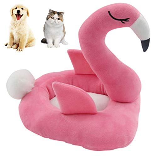Cat Bed Dog Bed Plush Flamingo Pet Bed Soft Warm for Sleep Pet Cushion Winter Plush Calming Dog Bed,Self Warming Puppy Bed for Small Medium Pet Dogs Cats,Pink,S