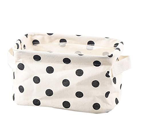 Yibuf - Caja de almacenamiento de escritorio con impresión de despertador, organizador impermeable de algodón y lino, varios artículos, cesta de almacenamiento, armario íntimo, bolsa # Bl5