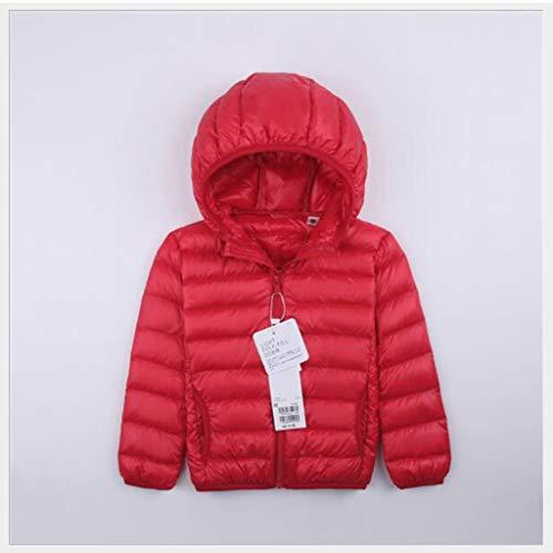 Kinderen donsjack, hooded herfst en winter kleding, outdoor skiën winterjas, donsjack geleverd met opbergtas, geschikt for jongens en meisjes, geschikt for 3-8 jaar (Color : Rose red, Size : 110cm)