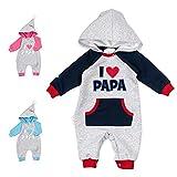Baby Sweets – Baby-Overall mit Kapuze/Baby Strampler mit Motiv I Love Papa/Baby-Kleidung für Mädchen und Jungen/Baby Erstausstattung für Neugeborenen und Kleinkinder/Größe Newborn (56)