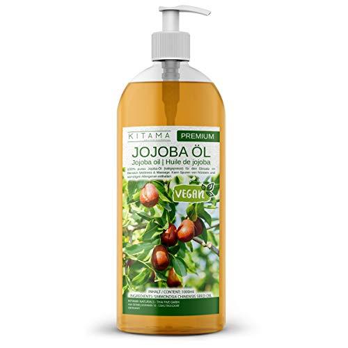Kitama Huile de Jojoba pressée à froid 1l (1000ml) - 100% Pure - Naturelle & végétalien - soin pour Cheveux, Corps, Peau - Massage cosmétique - Jojoba Oil