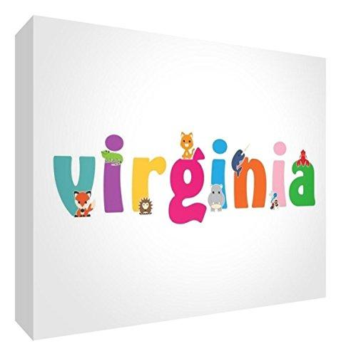 Little Helper LHV-VIRGINIA-A5BLK-15IT Pannello Decorativo Neonato/Battesimo Idea Regalo, Disegno Personalizzabile con Nome da Ragazza Virginia, Multicolore, 14.8 x 21 x 2 cm