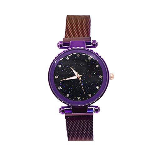 Reloj de Pulsera Impermeable magnético para Mujer con Estrellas Violeta