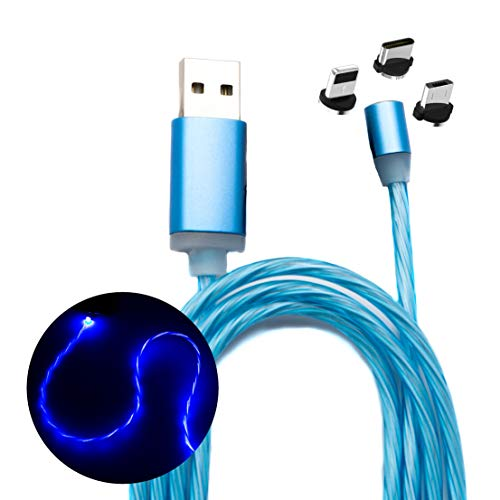 Austrian7 Leuchtendes magnetisches USB 3in1 Handy Ladekabel mit wechselbaren Adaptern für USB-C, Micro-USB und Lightning für iPhone, funktioniert mit Allen Smartphones, Quick Quarge (1m)
