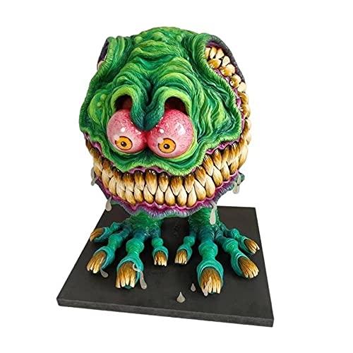 Decorazioni spaventose di Halloween, statua del mostro dalla grande bocca arrabbiata, figurine di decorazioni di Halloween, decorazioni gotiche, scultura di ornamento in resina fatta a mano-B