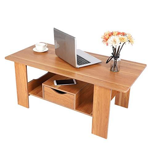 Salontafel met rek voor opslag en lade, woonkamertafel, rechthoekig, bijzettafel, theetafel met opbergruimte, woonkamermeubels van MDF, stabiel, modern, 100 x 48 x 41,5 cm, bruin