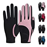 ChinFun Kids Horse Riding Gloves, Children Equestrian Gloves Premium Color-Contrasted, Summer Winter Boys Girls Youth Biking Skiing Gardening Pink Size L 10-12