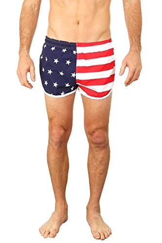UZZI Men's Running Shorts Swimwear Trunks 1830, American Flag, Medium