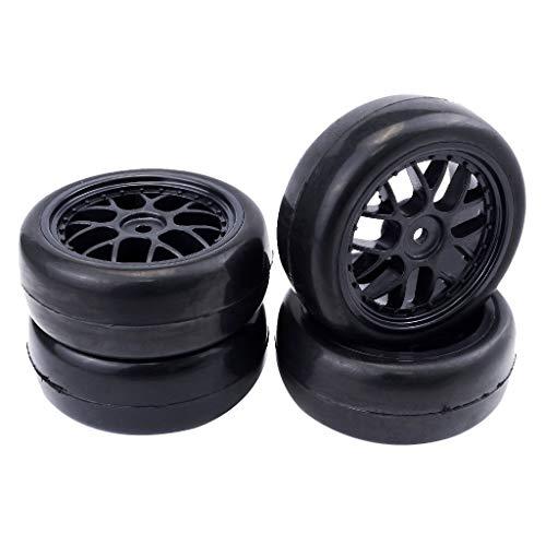 Hellery 1:10 Sacle RC Modelo de Coche Neumático Negro 65 Mm para Piezas LRP 4X