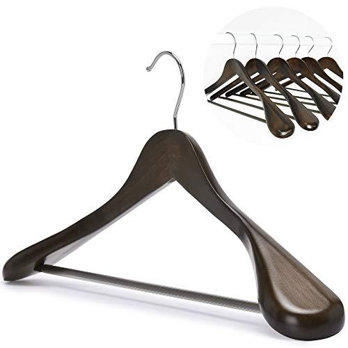 J.S. Hanger Kleiderbügel aus Holz, 6-Stuck, mit extra breiter Schulter, perfekt für Anzüge, Mäntel und Hosen, Retro
