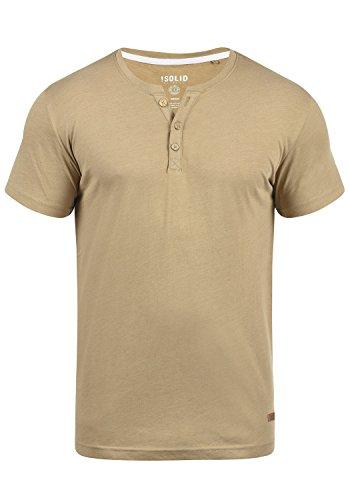 !Solid Volker Herren T-Shirt Kurzarm Shirt Mit Grandad-Ausschnitt, Größe:L, Farbe:Sand Melange (8409)