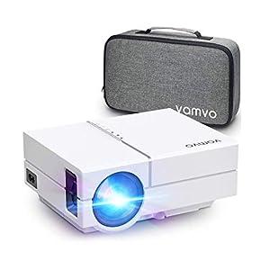 Vamvo Proyector Full HD 1080P 5500 Lux, Mini Proyector Portátil L4500 con Dolby, 50000 Horas Vida, Proyector Cine en Casa MAX de 200″ Compatible con TV Stick, PS3, PS4, Nintendo Switch, Xbox etc.