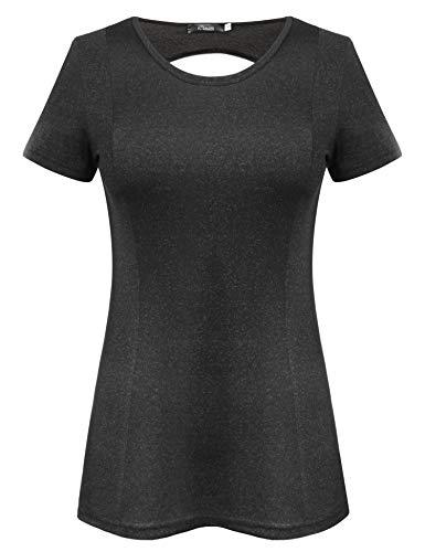 iClosam Damen T-Shirt Kurzarm Laufen Fitness Schnell Trocken Sportshirt