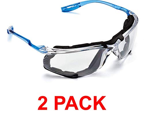3M Safety Glasses, Virtua CCS Protective Eyewear 11872, Removable Foam Gasket, Clear Anti-Fog Lenses, Corded Ear Plug Control System (2 Pack)