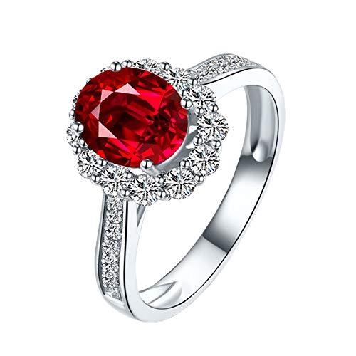Aundiz Trauringe 750 Gold Eheringe Paar Gold prunkvoll Blume Natürlich 1.4 Carat Taubenblutroter Rubin 0.63 Carat Diamant Größe 47 (15.0) Rot