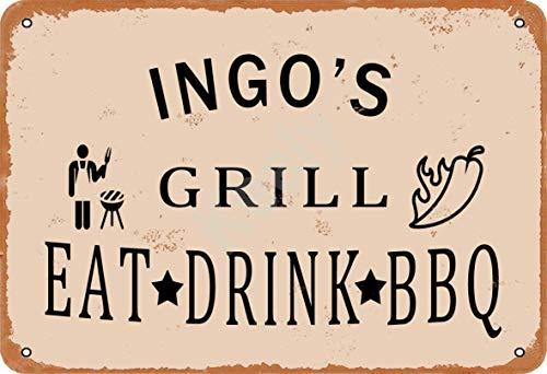 Keely Ingo'S Grill Eat Drink BBQ Metall Vintage Zinn Zeichen Wanddekoration 12x8 Zoll für Cafe Bars Restaurants Pubs Man Cave Dekorativ