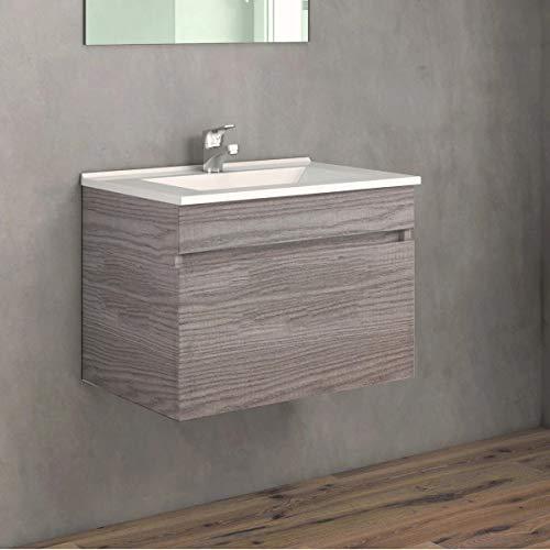 CTESI Mueble de baño Suspendido con Lavabo de Porcelana - 1 cajón - El Mueble va MONTADO - Modelo Soki (60 cms, Estepa)
