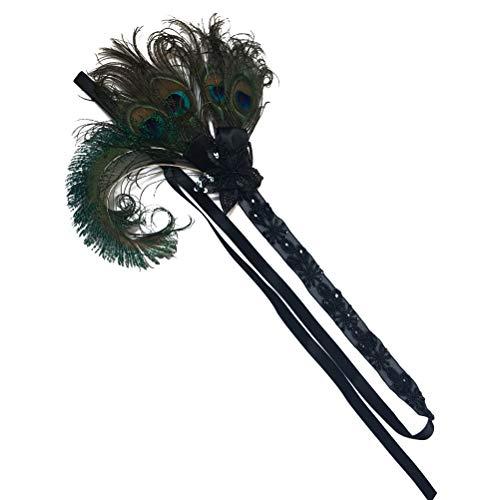 Frcolor 1920S appliques bandeau plume bandeau longue et courte bande de cheveux décor de coiffe pour la mariée demoiselle d'honneur (couleur naturelle)