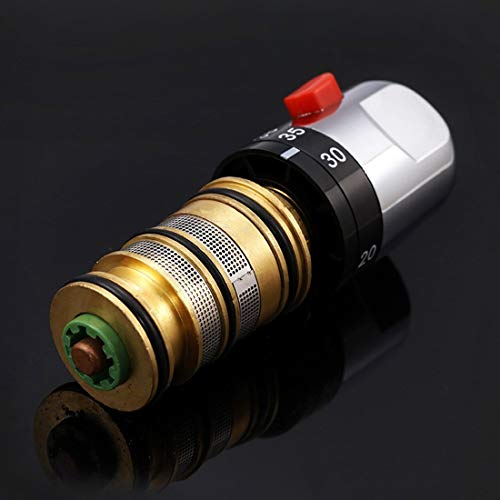 Solepearl Grifo mezclador termostático para baño y ducha con mango de válvula de repuesto para reparación de cartucho, control de temperatura constante de latón