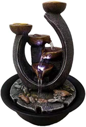 XHCP Tischbrunnen Desktop-Springbrunnen, Zwei Schichten Tier Beruhigende kaskadierende Tischbrunnen, Kerzenwasserfall, Kerzen-Springbrunnen-Springbrunnen