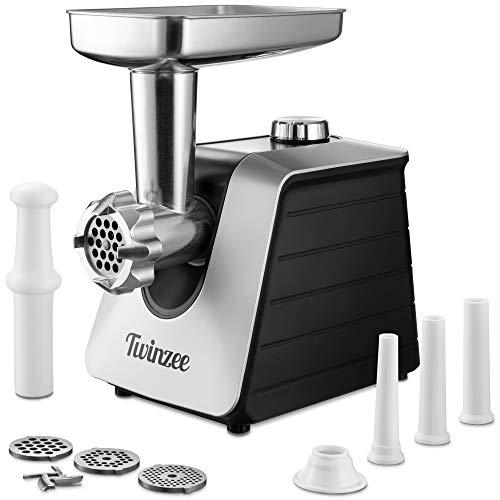 Twinzee Picadora de Carne Eléctrica 1500W (Negro) - para Carne y Salchichas - Robot Cocina, Picador de Carne con 3 Placas de Corte y 3 Boquillas para Salchichas - Picadora Profesional