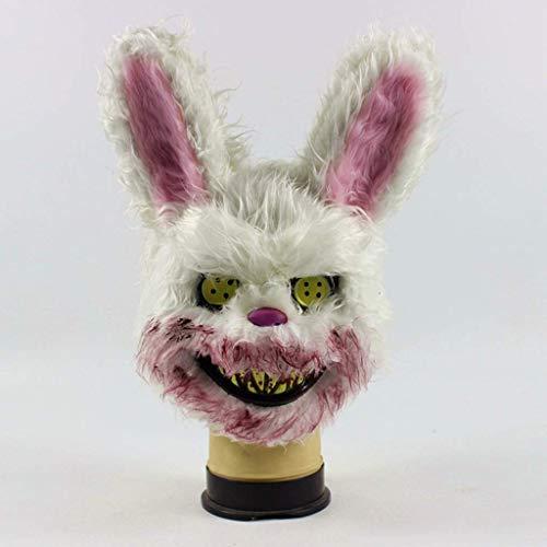 Pkfinrd Kaninchen-Plüsch Cos Halloween Horror Make-up-Party Nette Tiermaske (Color : A)