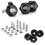Bettway 4pcs/Set Car License Plate Frame Screw Bolts - Land Rover Logo Cap Cover Metal Screw Bolts Nuts Anti-Theft Universal Car Truck Accessories fits for Land Rover (Black, Black Nuts)