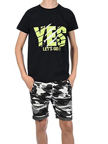 BEZLIT Jungen Sommer Set T-Shirt Capri Shorts Kurze Hose Stoff Shorts 30091 Schwarz/Camouflage 140/146