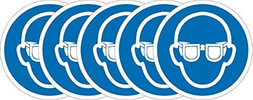 International ISO Augenschutz erfordert Symbol Sicherheitszeichen - Selbstklebende Aufkleber mit 50 mm Durchmesser (Packung mit 5 Aufkleber)