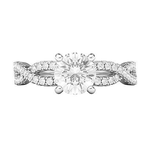 Anillo de compromiso de plata de ley con diseño de infinito de diamantes de imitación de 1,0 quilates, para mujer