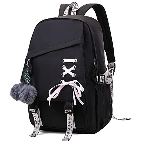 FENGDONG Kids Girls Bookbag school Backpack Children Daypack for Teens Black