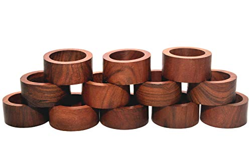 Nirvana Class Handmade Wood Napkin Ring Set with 12 Napkin Rings - Artisan Crafted in India