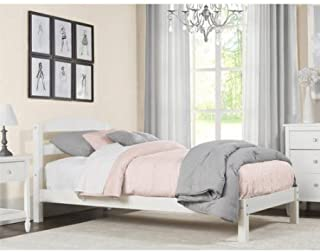 Mainstay- Simple Sturdy Twin Size Bed (Twin(Wood), White)