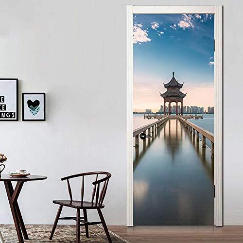 FCFLXJ 3D Türaufkleber für Innentüren, Chinesischer Pavillon DIY Tür Wandmalereien Foto gedruckt Selbstklebende Wandbilder wasserdichte Tür Aufkleber Vinyl Tür Tapete für Schlafzimmer Badez 95*215CM