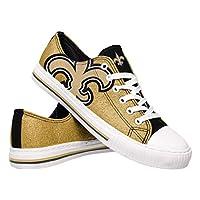 FOCO NFL New Orleans Saints Womens Ladies Glitter Low Top Canvas Sneaker Shoesladies Glitter Low Top Canvas Sneaker Shoes, Team Color, 8/Large