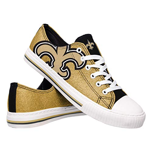 FOCO NFL New Orleans Saints Womens Ladies Glitter Low Top Canvas Sneaker Shoesladies Glitter Low Top Canvas Sneaker Shoes, Team Color, 9/X-Large