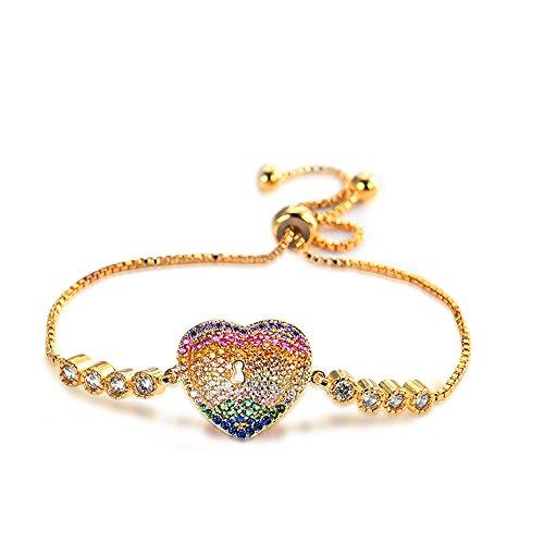 Teniu Copper Zirconia 24K Gold Plated Adjustable Heart Bracelet Women Girls Charm Bracelet Fashion Jewelry Bracelet