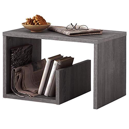 BAKAJI Tavolino da caffè Laterale Divano con Ripiano Libreria Portariviste Design Moderno Arredamento Casa Soggiorno Dimensione 59 x 36 x 38 cm (Grigio)