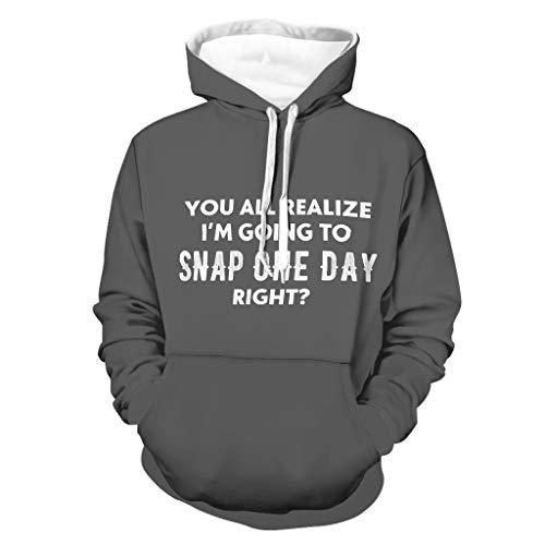 DAMKELLY Store Sudadera unisex Snap One Day Right Colorful Transpirable - Estampado White XL
