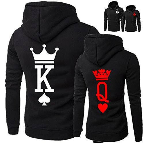 YJQ King Queen Hoodies Couple Matching Long Sleeve Pullover Hoodie Sweatshirts Set (Men M + Women M, Black//King+Queen)