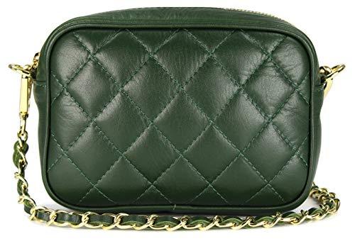 Belli italienische Echt Nappa Leder Abendtasche Damentasche kleine Umhängetasche zum Ausgehen gesteppt in grün verde - 18x13x7 cm (B x H x T)
