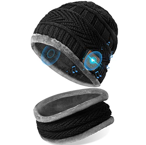 Bluetooth Beanie with Scarf, Stocking Stuffers Gift for Men Beanie Cap Rechargeable with Wireless Hands Free Head Hat Winter Warm Knit Cap with Scarf, Chritmas Gift for Men and Women Black