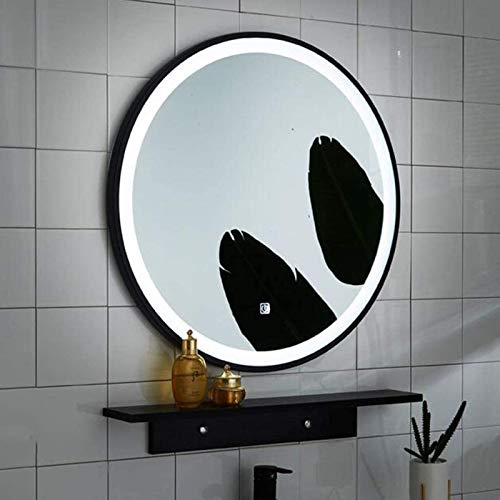 QAZW Mirror, Bathroom, Wall-Mounted, Dressing Table ,Bathroom Mirror - Nordic Style Wrought Iron Frame Round Mirror - Wall Hanging Led Light Mirror Makeup,50cm