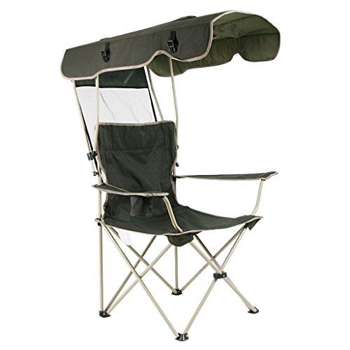 Homelx Klappstuhl mit Sonnensegel Liegestuhl Regenschirm Portable Angelstuhl Outdoor Klappliege Camping Angeln Relaxsessel Leicht & Langlebig Outdoor Sitz Sonnenschutz Sonnenschirm Stuhl Dunkelgrün