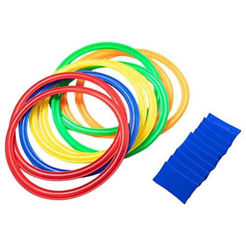 Balacoo Hopscotch Ring mit Sitzsäcke Kunststoff Ringe Spiel Set für Indoor Outdoor Spaß Klimaanlage Agilität Ausbildung