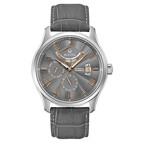 Bulova Classic 6 Hand, Power Reserve Mens Watch, Stainless Steel with Gray Leather Strap, Silver-Tone (Model: 96C143)