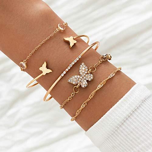 Handcess Pulseras de cristal Boho con mariposa dorada y diamantes de imitación para la mano, accesorios de mano vintage para mujeres y niñas (5 unidades)