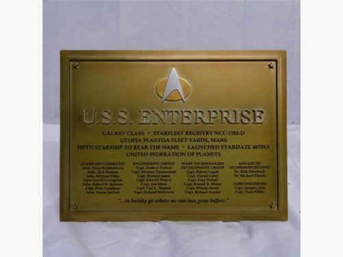 Star Trek - Enterprise 1701 D Official Starships Collection - Dedication Plaque
