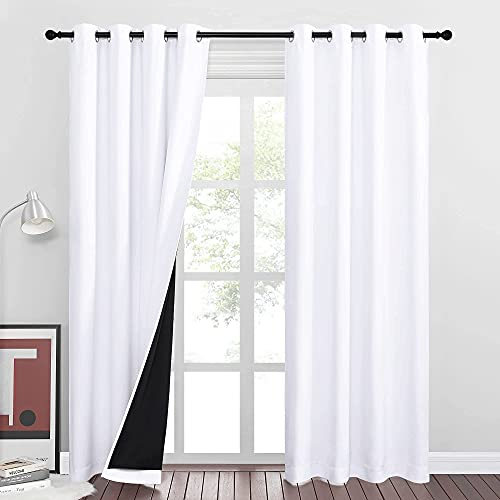RYB HOME White Curtains - 2 Layers 100% Blackout Curtains Shades...